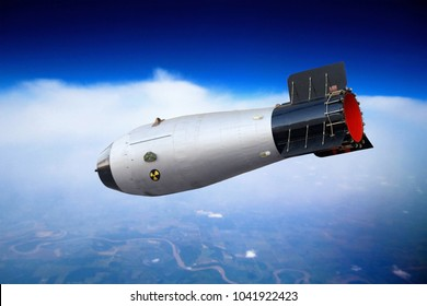 Nuclear bomb is flying in the sky. Nuclear war