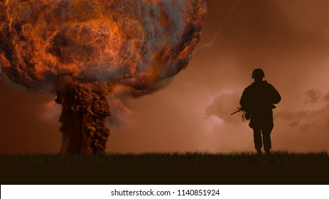 Nuclear explosion of a bomb and soldiers