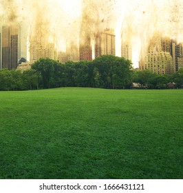 Nuclear explosion in the center of New York.Bright explosion behind skyscrapers,destroying buildings.Green lawn on the background of buildings collapsing from the explosion.Nuclear war.Third world war