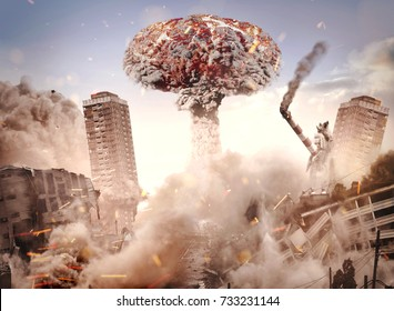 Nuclear explosion in a city. Buildings collapsing from the blast.