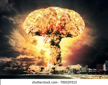 Nuclear explosion in city near the beach at night