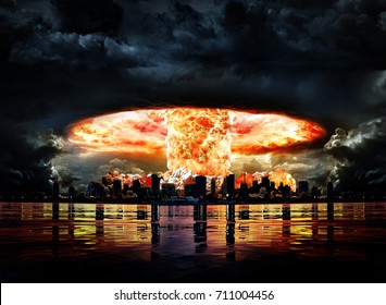 Nuclear explosion in a city near the sea at night