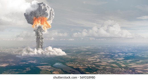Nuclear explosion from height of bird's flight.