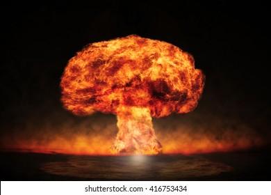 Kernexplosion im Freien. Symbol des Umweltschutzes und der Gefahren der Kernenergie