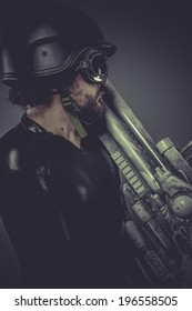 Nuclear, Future soldier with huge weapon, sci-fi scene