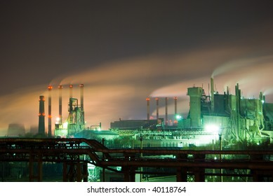 nuclear plant in japan at night