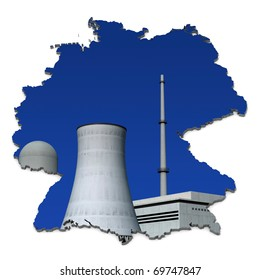 Nuclear power plant against a blue background in an abstract map of Germany