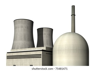 Nuclear power plant against a white background