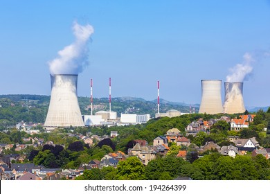 nuclear power plant atomic energy at the city tihange in belgium