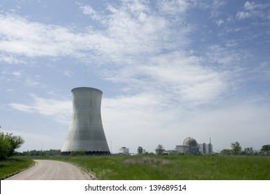 Nuclear power plant cooling tower and reactor building.