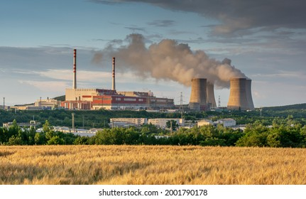 Nuclear power plant with golden field of Barley (Hordeum vulgare) in front of it. Nuclear power station. Cooling towers. Mochovce. Slovakia.