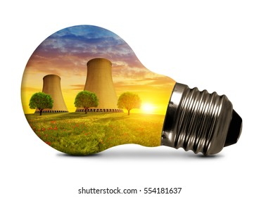 Nuclear power plant in light bulb isolated on white background.