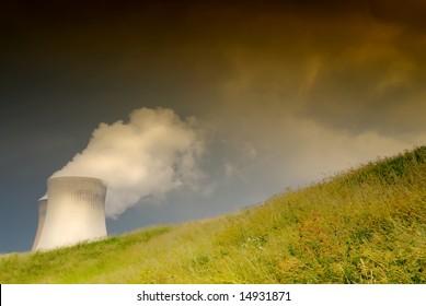 Nuclear power plant near Antwerp, Belgium with threatening dark sky