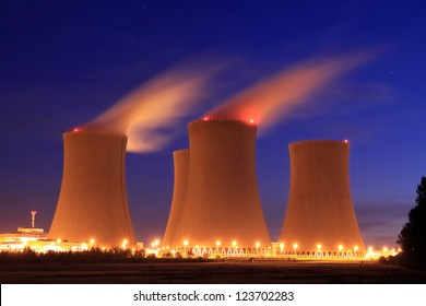 Nuclear power plant at night - Temelin, Czech Republic