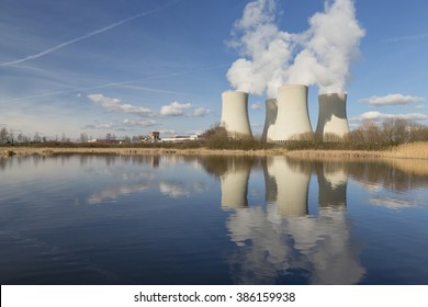Nuclear power plant Temelin in the Czech Republic reflected in the small lake.