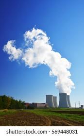 Nuclear power plant Temelin in the Czech Republic against blue sky