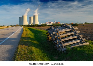 Nuclear power plant Temelin in Czech Republic Europe, with road and blue sky. Energy in the nature. Industrial landscape from Europe.