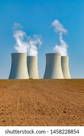 Nuclear power plant Temelin with field  and blue sky in Czech Republic Europe.
