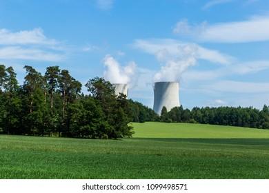 Nuclear power plant Temelin and green field in Czech Republic. Europe.