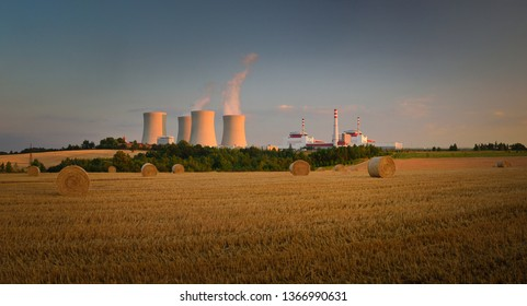 Nuclear Power Plant Temelin in South Behemia with field, sunset Czech Republic