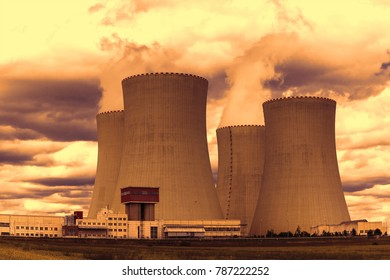 Nuclear power plant Temelin at sunset in Czech Republic Europe
