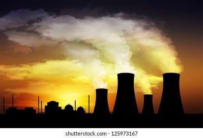 nuclear power plant,cooling tower