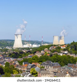 nuclear power station at the city tihange in belgium