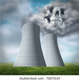 Nuclear power station disaster symbol representing a meltdown and radiation leaking from damaged overheated cooling tower reactor.