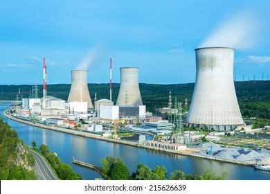 Nuclear Power Station on a river in tihange