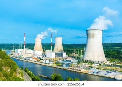 Nuclear Power Station in summer at tihange