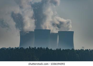 Nuclear powerplant near Temelin village in summer hot cloudy day in south Bohemia