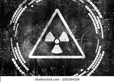 Nuclear radiation sign on old grungy wall. Symbol of radiation contamination. Monochrome black and white illustration