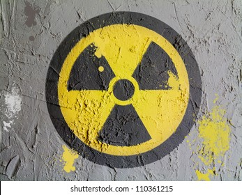 Nuclear radiation symbol painted on wall