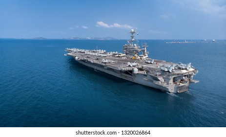 Nuclear ship, Military navy ship carrier full loading fighter jet aircraft for prepare troops.