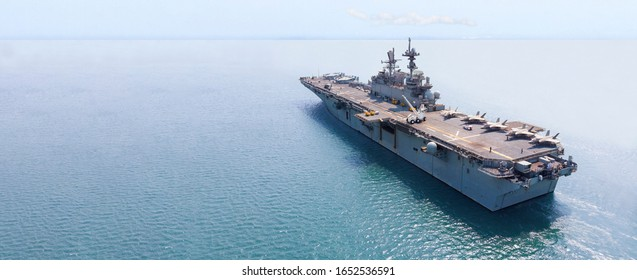 Nuclear ship, Military navy ship carrier full loading fighter jet aircraft and helicopter for patrol.