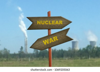 Nuclear War sign on reactor plant background