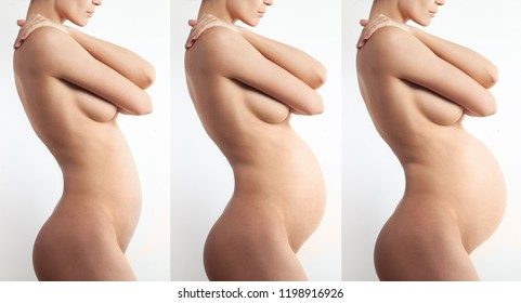 Nude anonymous pregnant woman profile on white background. Different trimesters. Body care and medicine concept