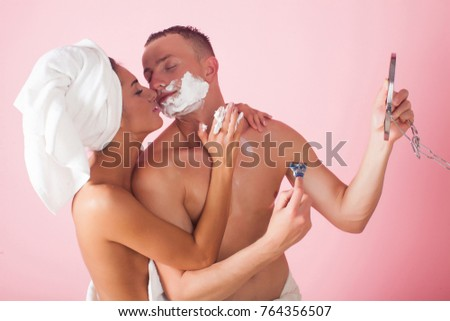 Once and Nude couple erotic in bathroom