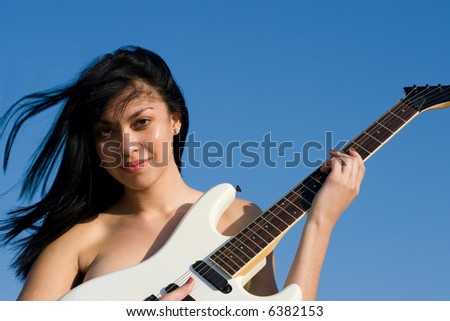 Accept. Young girl plays guitar naked assured, that