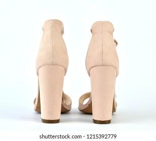 Nude look roman style high-heeled sandals