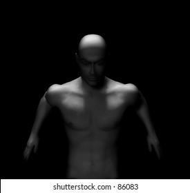 nude male series. 3d digitally rendered male model