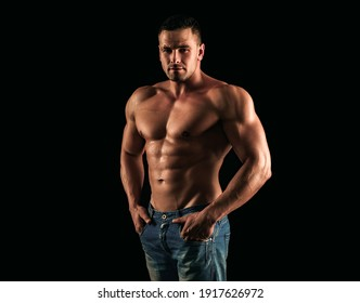 Nude man torso. Denim fashion. Naked muscular guy in jeans. Sexy topless muscular fitnes model. Male naked body