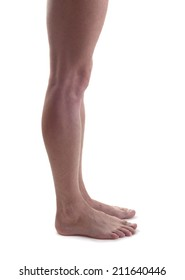 Nude man's legs isolated. side view