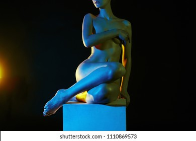 Nude Woman, Colorful bright lights. sparkling shiny Rainbow color Naked body Girl