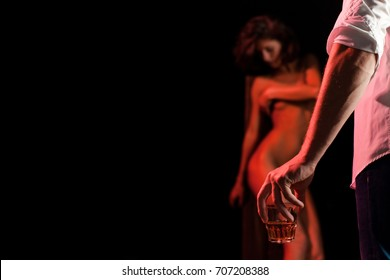 Nude woman. Sensual couple during hot and sexy moments. Orgasm concept. Beautiful lady and guy in erotic pose. Portrait of girl and boy indoors. Sexy girl. Whiskey glass. Passionate couple. Sensual.