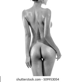 nude woman sexy Artistic black and white photo