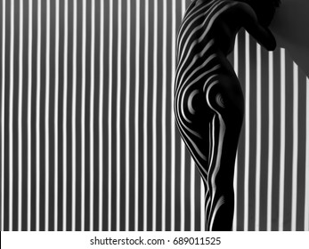 nude woman sexy Artistic black and white line art photo