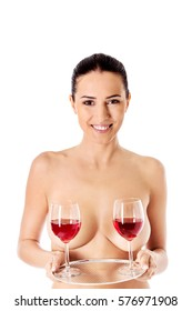 Wine naked nude woman phrase