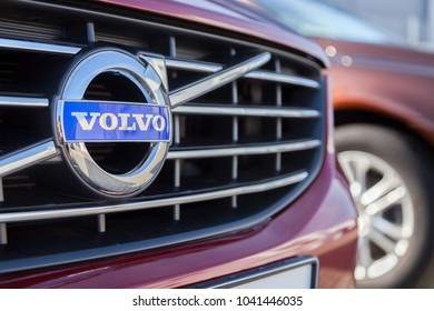 NUERNBERG / GERMANY - MARCH 4, 2018: Volvo logo on a Volvo car at a Volvo car dealer in Germany.