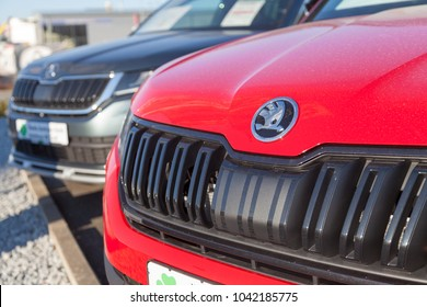 NUERNBERG / GERMANY - MARCH 4, 2018: Skoda logo on a Skoda car at a car dealer in Germany. Skoda is a Czech automobile manufacturer founded in 1895 as Laurin and Klement.